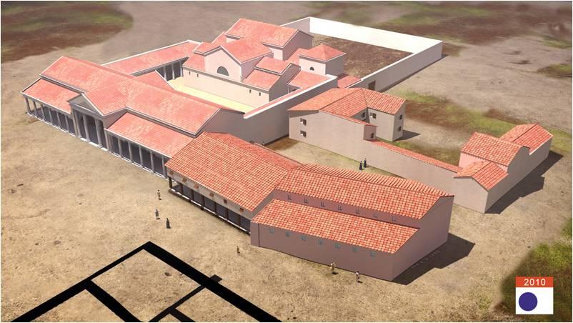 Vue 3D du quartier d'habitat et des thermes site du Fâ